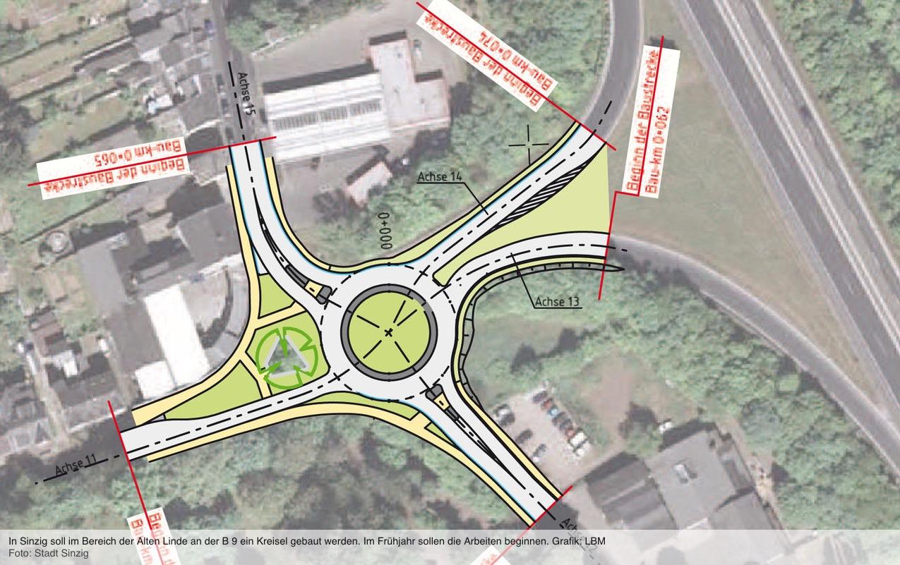 Planung des Verkehrskreisplatzes an der Sinziger Linde